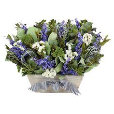 Preserved arrangement with myrtle and larkspur in a tapered rectangular planter.  Product: Preserved floral arrangement...