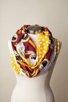 Infinity scarves, especially ones, are always in style! Redskins Gear, Redskins Baby, Redskins Football, Redskins Apparel, Carolina Hurricanes, Burgundy And Gold, Washington Redskins, Football Season, Sport Girl