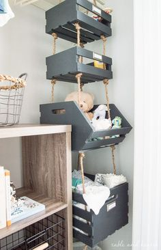 Simple Hanging Closet Storage Crates with Rope Table and Hearth is part of Nursery baby room - Use that vertical space by making these super simple Hanging Closet Storage Crates with rope! Plenty of storage in less than an hour of work! Hanging Closet Storage, Kids Closet Storage, Kids Playroom Storage, Children Storage, Baby Playroom, Small Nurseries, Vertical Storage, Small Storage, Diy Storage
