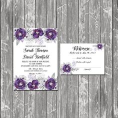 Printable Wedding Invitation RSVP, wedding invitations , Purple Srilver Gray watercolor Floral RSVP Cards Printable digital files
