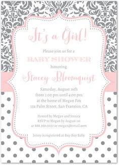 43 best girl baby shower invitations images on pinterest shower grey polka dots floral damask baby shower invitations filmwisefo