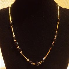 """Vintage Liz Claiborne Black Bead And Gold Beautiful vintage Liz Claiborne black glass bead and gold tone necklace. Has a strong lobster clasp.  In excellent condition.  Adjustable from 17"""" - 21"""".  Please contact me if you have any questions. Liz Claiborne Jewelry Necklaces"""