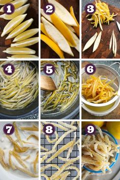 Making Candied Lemon Peel is a way to practice the 'waste not, want not way' of life by transforming the lemon peel you would normally discard into an irresistible sweet snack! Candied Orange Slices, Candied Lemon Peel, Candied Lemons, Candied Fruit, Candy Recipes, Fruit Recipes, Dessert Recipes, Cooking Recipes, Datte Fruit