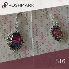 Nwt druzy necklace lot 2 very cute necklaces one pink faux druzy other has a pink and purple abstract style designs Jewelry Necklaces