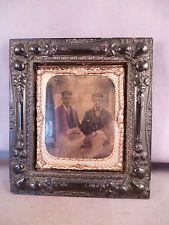 a Superb Antique Gutta Percha Photo Frame Daguerreotype of two men Victorian