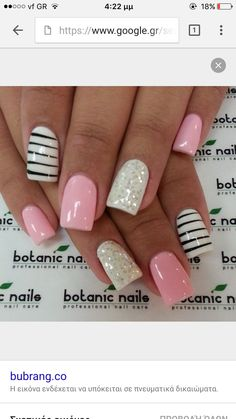 #nails #pink #stripes