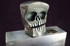 Forged Steel Skull  Large Hand Forged From A Solid by BobbioForge