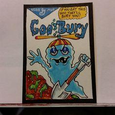 ORIGINAL ART SKETCH CARD WACKY PACKAGES GOO BURY MONSTER CEREAL FAN ART SCHERES #PopArt