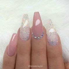 REPOST - - - - Pale Mauve-Pink and glitter on long coffin nails with - Ellise M. - REPOST – – – – Pale mauve pink and glitter on long coffin nails with – - Fancy Nails, Trendy Nails, My Nails, Gems On Nails, Nails On Fleek, Coffin Nails Long, Long Nails, Coffin Nails Glitter, Pink Glitter Nails
