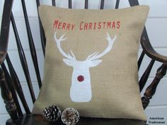 Hey, I found this really awesome Etsy listing at https://www.etsy.com/listing/254782630/merry-christmas-burlap-pillow-rudolph