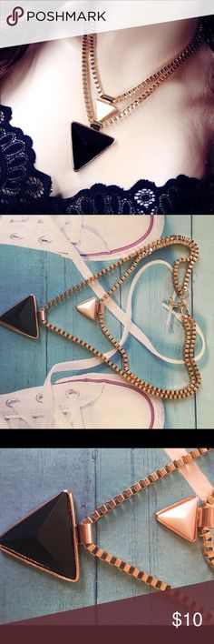 ❣Triangle Double Layered Necklace❣ Stunning layered necklace! Very beautiful and elegant...perfect for an evening gown. Gold plated. Absolutely beautiful!                            ❤️❤️❤️❤️Necklaces are buy 1 for $10, 2 for $15, or 3 for $20❤️❤️❤️❤️ Price is Firm Jewelry Necklaces