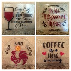 Cutting boards from Dollar Tree with vinyl added to backside