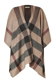 BURBERRY LONDON  Smoked Trench Check Cashmere Cecily Cape