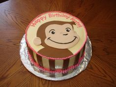 Curious George - based on a cake by nefgaby.  For my daughters 2nd birthday.  She loves Curious George.  Darn good Chocolate cake, Buttercream Dream and MMF george and stripes.  I used a printout coloring sheet and cut out the shapes in fondant with an exacto knife.  Easy and cute!