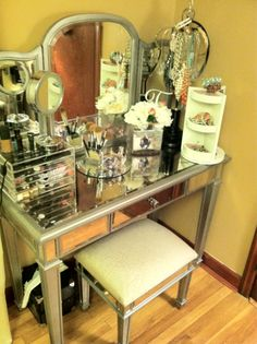 Hayworth Mirrored Furniture Collection from Pier 1 - if I can't find an MCM one, this might be a good option, it's so girly!