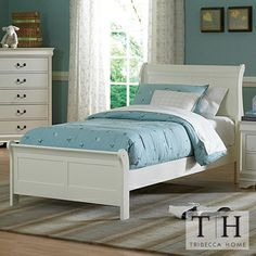 Tribecca Home Alfie White Twin Bed for Madison