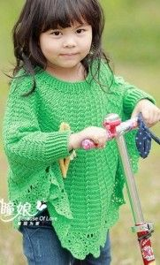 Poncho for girls crocheted