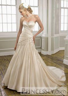 A-line Strapless Dropped Waist Sleeveless Floor Length Chapel Wedding Dress