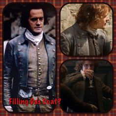 Jamie filling the Laird of Lallybroch's coat, also shown on his father Brian Fraser. | Outlander S1bE12 'Lallybroch' on Starz | Costume Designer TERRY DRESBACH www.terrydresbach.com
