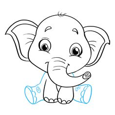 Learn to draw a baby elephant. This step-by-step tutorial makes it easy. Kids and beginners alike can now draw a great looking baby elephant. Baby Elephant Video, Elephant Gif, Elephant Canvas, Cavas Painting, Baby Painting, Bird Drawings, Animal Drawings, Elephant Drawing For Kids, Baby Room Paintings