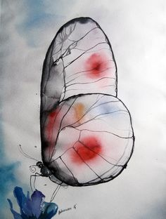 Butterfly - original watercolor painting. Contemporary art. Unique gift for wedding or birthday. Nature wall art. Watercolour picture