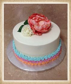 Simple Flower Bridal Shower Cake