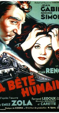 Directed by Jean Renoir.  With Jean Gabin, Julien Carette, Simone Simon, Fernand Ledoux. In this classic adaptation of Emile Zola's novel, a tortured train engineer falls in love with a troubled married woman who has helped her husband commit a murder.