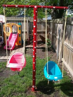Swing set made out of clothesline poles-grandparents house? Or small backyard ? Kids Outdoor Play, Outdoor Play Areas, Kids Play Area, Backyard For Kids, Backyard Projects, Kids Yard, Desert Backyard, Diy Swing, Small Backyard Landscaping