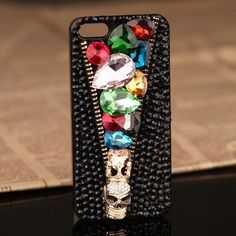 jewelled skull iPhone 5 Black Rhinestones Crystals Cover Anniversary gift for wife Black Rhinestone, Crystal Rhinestone, 3d Iphone Cases, Anniversary Gifts For Wife, Skull, Crystals, Rhinestones, Jewelry, Cover