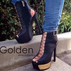 OMG...I WISH I could find these platforms! #Boss #ILoveShoes Golden Amiclubwear