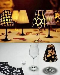 What a great idea, wine glass, candle, make your own lamp shade