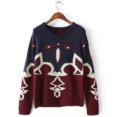 Brief Scoop Neck Color Splicing Loose-Fitting Long Sleeve Sweater For Women