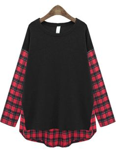 Shop Black Contrast Plaid Long Sleeve Loose T-Shirt online. Sheinside offers Black Contrast Plaid Long Sleeve Loose T-Shirt & more to fit your fashionable needs. Free Shipping Worldwide!