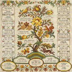Family Registry Sampler Family Tree by FamilyTreeStitchery on Etsy, $250.00