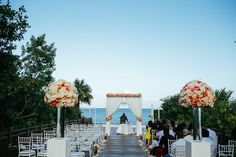 When you backdrop is this beautiful, simple ceremony set up is enough. Destination wedding