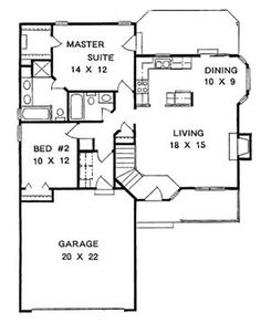 Cottage Style House Plan - 2 Beds 2.00 Baths 1075 Sq/Ft Plan #58-104 Floor Plan - Main Floor Plan - Houseplans.com
