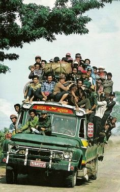whatever it takes to get there!! Bus to Siem Reap, Cambodia in the 80s.