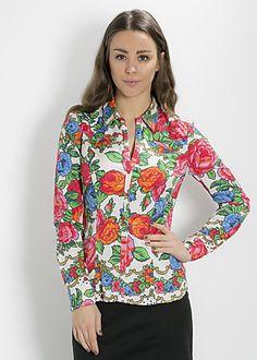 Blutgeschwister blouse floral of roses blusette, flower carpet, Bluse, Weiß