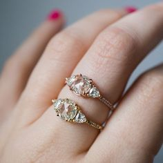 Mila Rose Cut Moissanite Three Stone Ring with Pavé Band by S. Kind & Co.