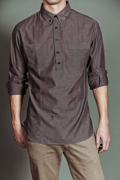 JackThreads - Mann Mens L/S Woven Charcoal Chambray