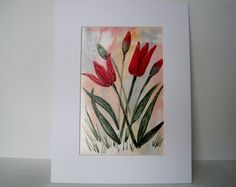 Encaustic Wax Painting of Red Tulips £7.50
