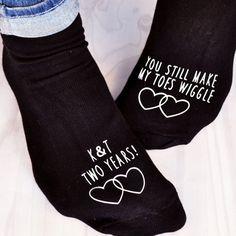 View this pair of Personalised Socks - You Still Make My Toes Wiggle from MyGiftGenie. Personalised Socks, 2nd Anniversary Gifts, Be Still, Sweatpants, Pairs, Gift Ideas, How To Make, Cotton, Stuff To Buy