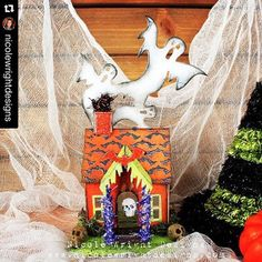 Perfection! Thanks for sharing #Repost @nicolewrightdesigns with @repostapp. ・・・ Time to get creepy with the newest Village Dwelling. I experimented with @ranger_ink carved pumpkin and new Iced Enamel Relique Powders... love them! Check out my blog for detailed photo's and my Haunted Dwellings Village.  #RangerInk #IceResin #Sizzix #tim_holtz #emeraldcreekcraftsupplies #stampersanonymous #halloween #craft