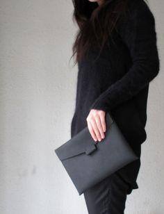 Hand-stitched matte black leather iPad case  by HIDDENGEMstudio
