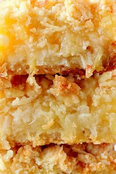 These Pineapple Coconut Crumb Bars are easy, sweet and taste like tropical dessert. Crunchy coconut crumb topping and gooey pineapple filling make for irresistible combo! Coconut Desserts, Coconut Cookies, Coconut Recipes, Baking Recipes, Delicious Desserts, Coconut Bars, Cherry Cookies, Lemon Desserts, Bar Recipes