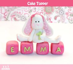 Fondant Bunny  3d cake topper by mjtabush on Etsy