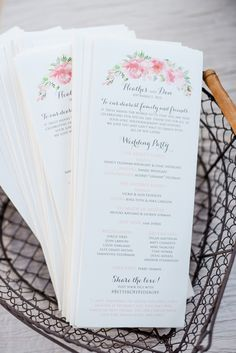 pink fancy script wedding program