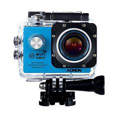 Aokon Underwater Camera SJ7000 Waterproof Sports Action Camera 1080P 12M HD Helmet Motorcycle Video Camera Cam  170Wide   Angle Lens  2.0 Inch LCD Screen  2 Batteries & 19 Accessories Kit (Blue)
