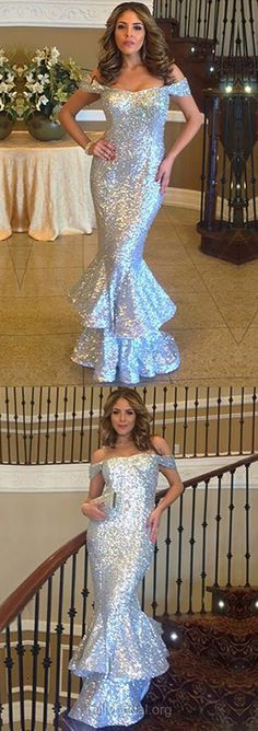 Silver Prom Dresses Long, Sparkly Prom Dresses 2018, Trumpet/Mermaid Prom Dresses Off-the-shoulder, Sequined Evening Party Dresses Ruffles, Modest Formal Pageant Dresses Unique