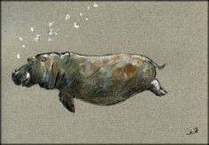 Hippo original watercolor painting by Juan Bosco
